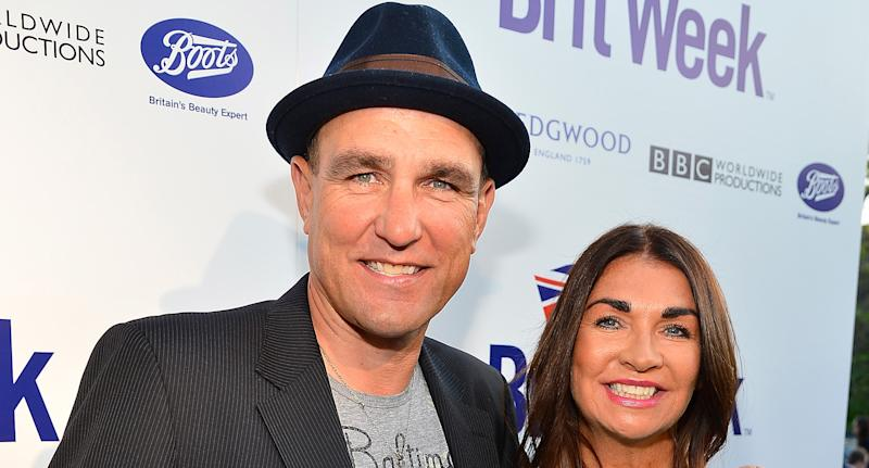 "Actor Vinnie Jones (L) and Tanya Jones attend the launch of the Seventh Annual BritWeek Festival ""A Salute To Old Hollywood"" on April 23, 2013 in Los Angeles, California. (Photo by Frazer Harrison/Getty Images for BritWeek)"