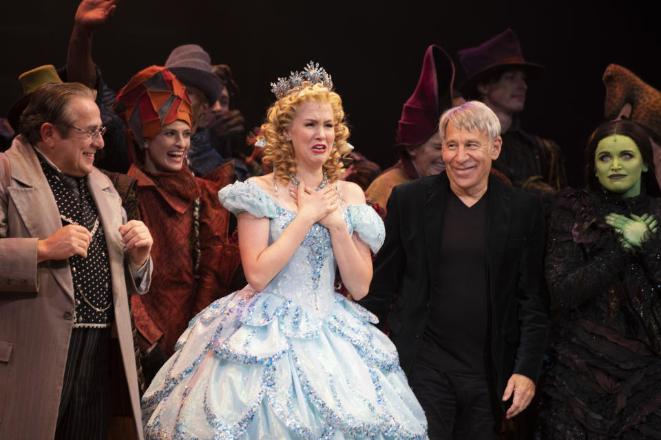 NEW YORK, NEW YORK - SEPTEMBER 14: Michael McCormick, Ginna Claire Mason, Stephen Schwartz. Lindsay Pearce and cast during curtain call of the Broadway reopening of