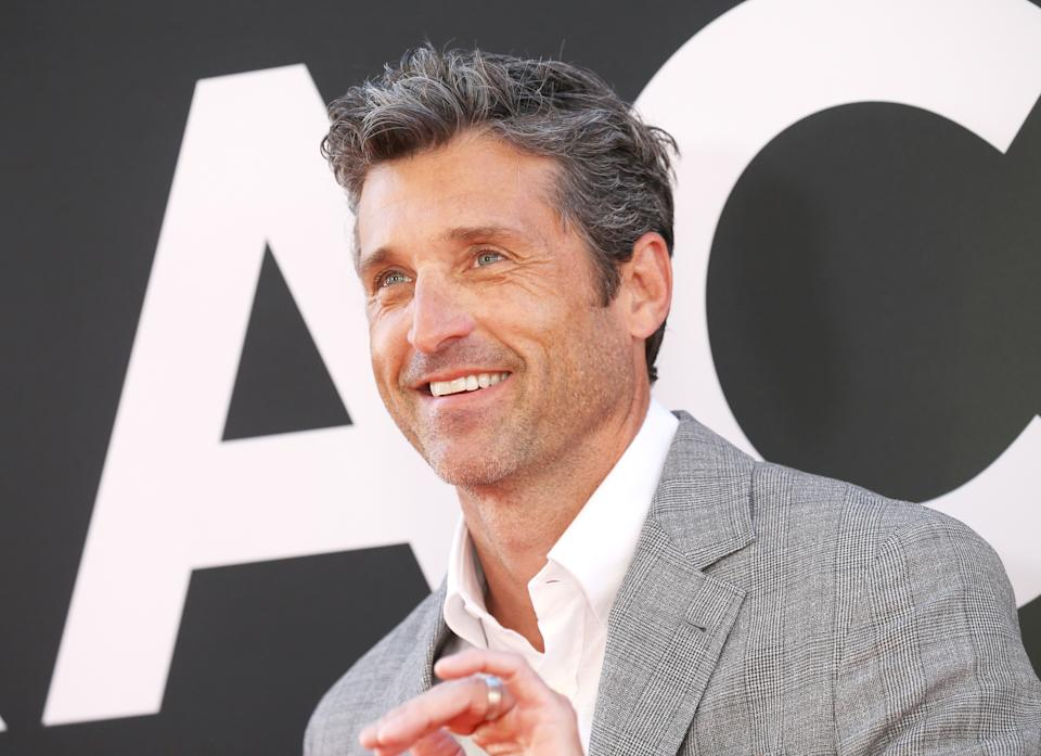 """LOS ANGELES, CALIFORNIA - AUGUST 01: Patrick Dempsey attends the Los Angeles premiere of 20th Century Fox's """"The Art of Racing In The Rain"""" held at El Capitan Theatre on August 01, 2019 in Los Angeles, California. (Photo by Michael Tran/FilmMagic)"""
