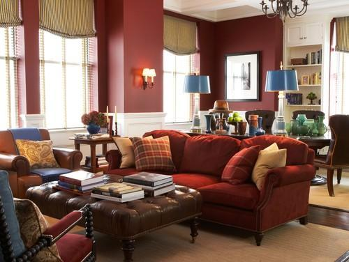 marsala, a deep wine red painted on living room walls
