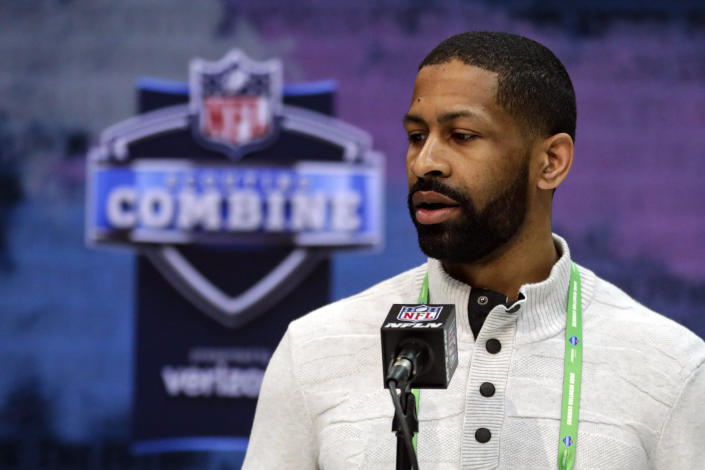 FILE - In this Feb. 25, 2020, file photo, Cleveland Browns general manager Andrew Berry speaks during a press conference at the NFL football scouting combine in Indianapolis. Berry said Tuesday that star receiver Odell Beckham Jr. has been fully committed to reporting to the team's facility. (AP Photo/Michael Conroy, File)