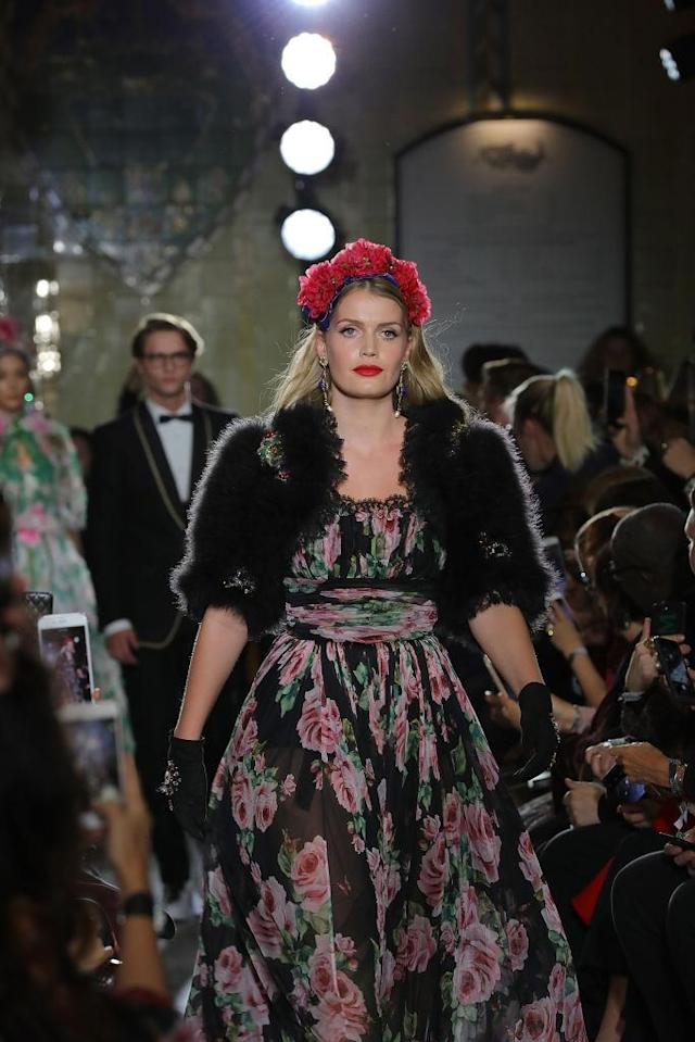 Lady Kitty Spencer donned a sheer floral D&G dress as she graced the runway. (Photo: Getty)