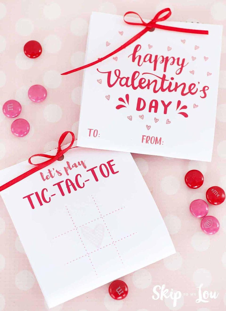 "<p>Challenge your significant other to a flirty game with these printable tic-tac-toe Valentines. Include a bag of pink and red M&M's to play with. </p><p><strong>See more at <a href=""https://www.skiptomylou.org/tic-tac-toe-valentines/"" rel=""nofollow noopener"" target=""_blank"" data-ylk=""slk:Skip to My Lou"" class=""link rapid-noclick-resp"">Skip to My Lou</a>.</strong></p><p><a class=""link rapid-noclick-resp"" href=""https://go.redirectingat.com?id=74968X1596630&url=https%3A%2F%2Fwww.walmart.com%2Fip%2FM-M-s-Milk-Chocolate-Candies-Valentines-Day-Candy-Cupid-s-Mix-10-Ounces%2F876852509&sref=https%3A%2F%2Fwww.thepioneerwoman.com%2Fhome-lifestyle%2Fcrafts-diy%2Fg35084525%2Fdiy-valentines-day-cards%2F"" rel=""nofollow noopener"" target=""_blank"" data-ylk=""slk:SHOP VALENTINE'S DAY M&M'S"">SHOP VALENTINE'S DAY M&M'S</a></p>"