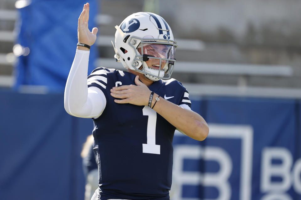 BYU QB Zach Wilson has been one of the fastest risers in the 2021 NFL draft picture. (AP Photo/Jeff Swinger, Pool)