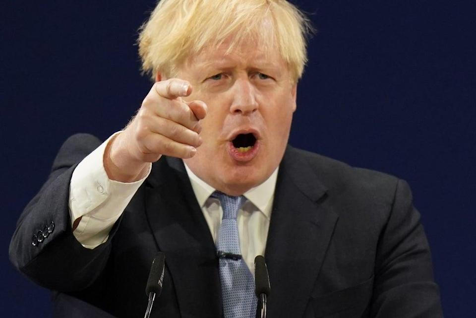 Boris Johnson delivers his keynote speech to the Conservative Party conference (Jacob King/PA) (PA Wire)