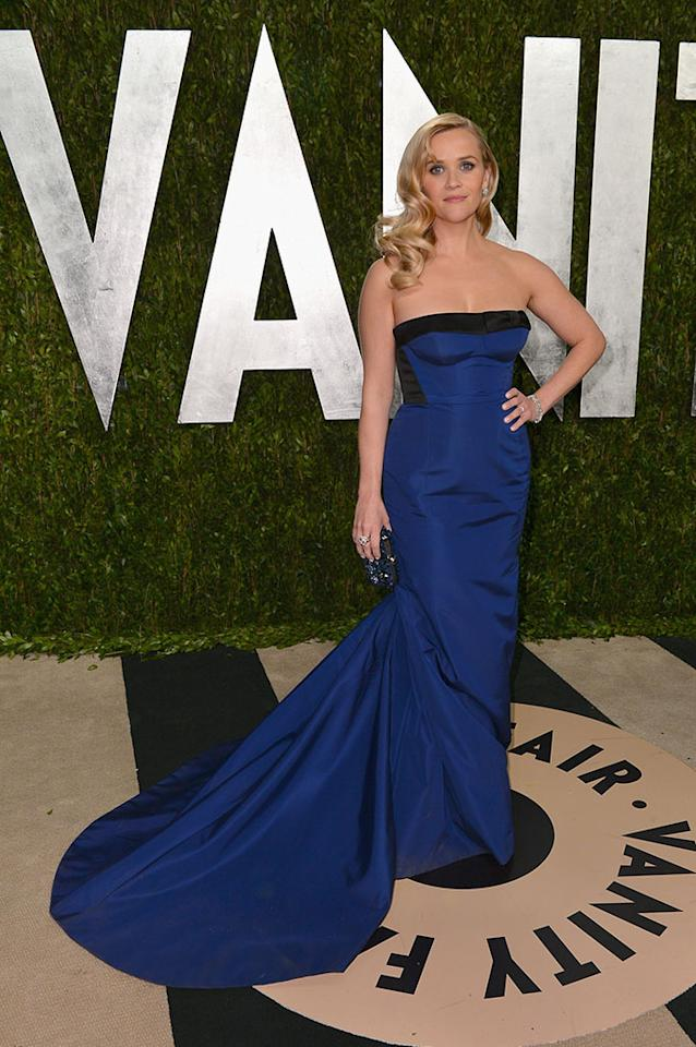 Reese Witherspoon arrives at the 2013 Vanity Fair Oscar Party hosted by Graydon Carter at Sunset Tower on February 24, 2013 in West Hollywood, California.