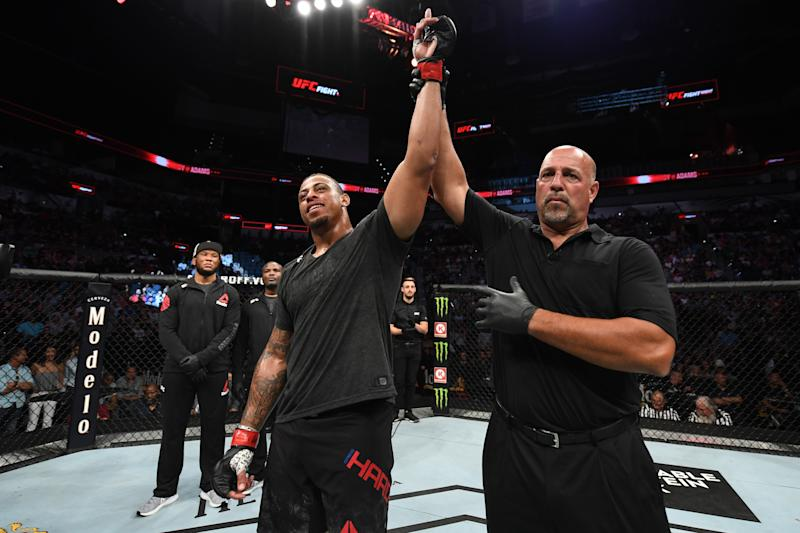 SAN ANTONIO, TEXAS - JULY 20: Greg Hardy reacts after defeating Juan Adams by TKO in their heavyweight bout during the UFC Fight Night event at AT&T Center on July 20, 2019 in San Antonio, Texas. (Photo by Josh Hedges/Zuffa LLC/Zuffa LLC via Getty Images)