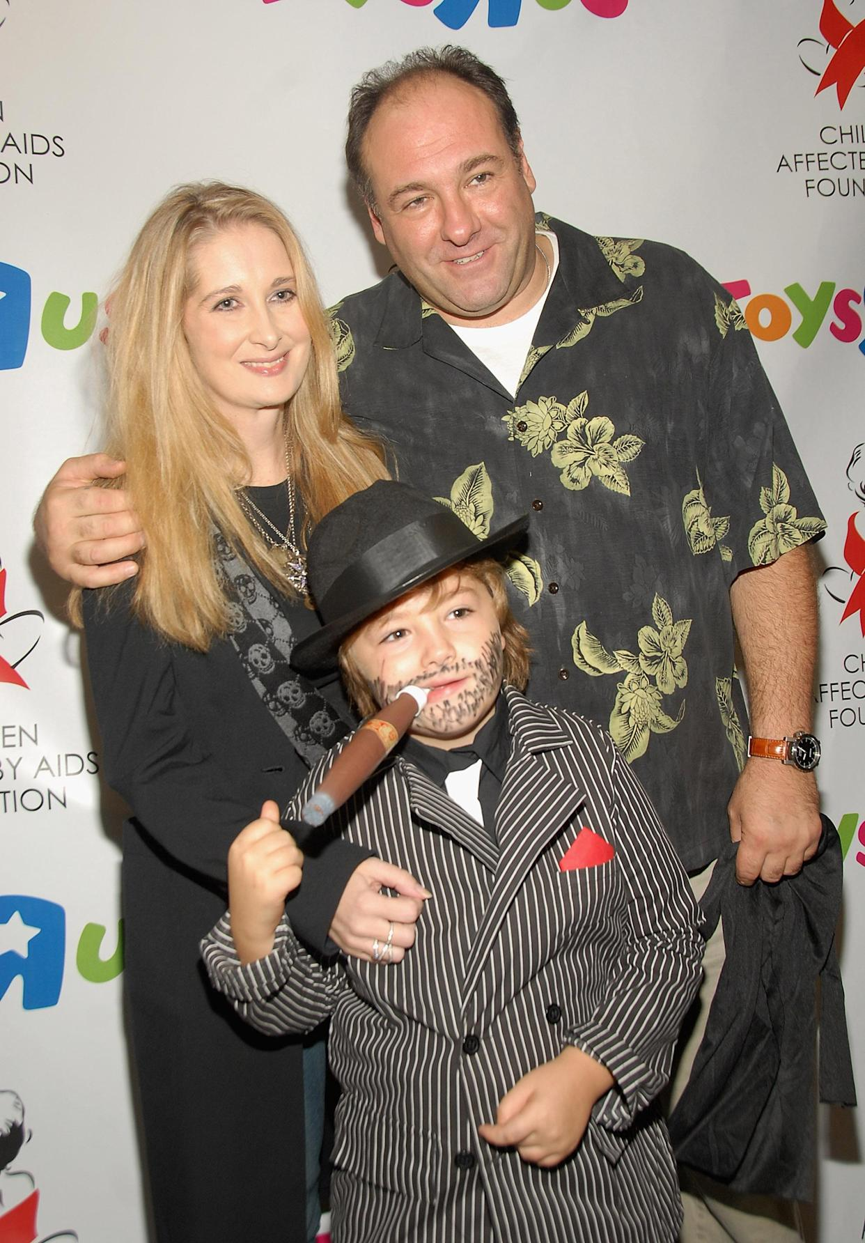 NEW YORK - OCTOBER 21:  James Gandolfini with Marcy Gandolfini and son Michael at Children Affected by AIDS Foundation's Dream Halloween at Roseland in New York City on October 21, 2007  (Photo by Theo Wargo/WireImage)