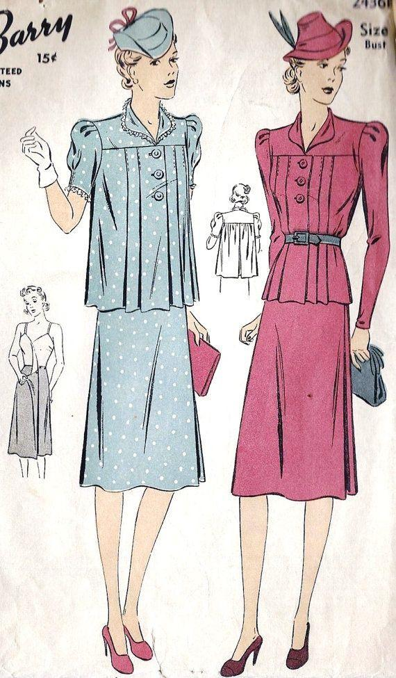 <p>Instead of dresses, separates started coming into play in the '30s. Pleated trapeze tops could be cinched during early months and worn more loosely once a bump started to show.</p>