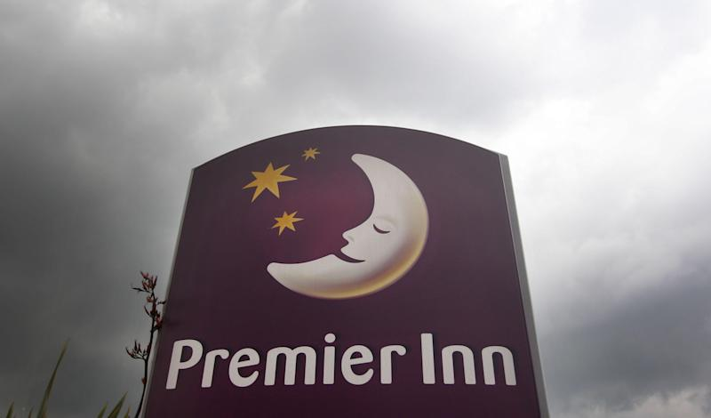 General view of a logo outside a Premier Inn, part of Whitbread PLC stable. (Photo by Lewis Whyld/PA Images via Getty Images)