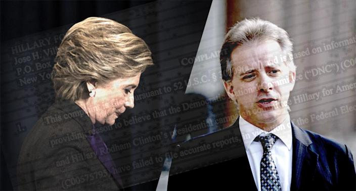 Hillary Clinton and Christopher Steele. with text from the Federal Election Commission complaint. (Photo illustration: Yahoo News; photos: Matt Rourke/AP, Victoria Jones/PA via AP)