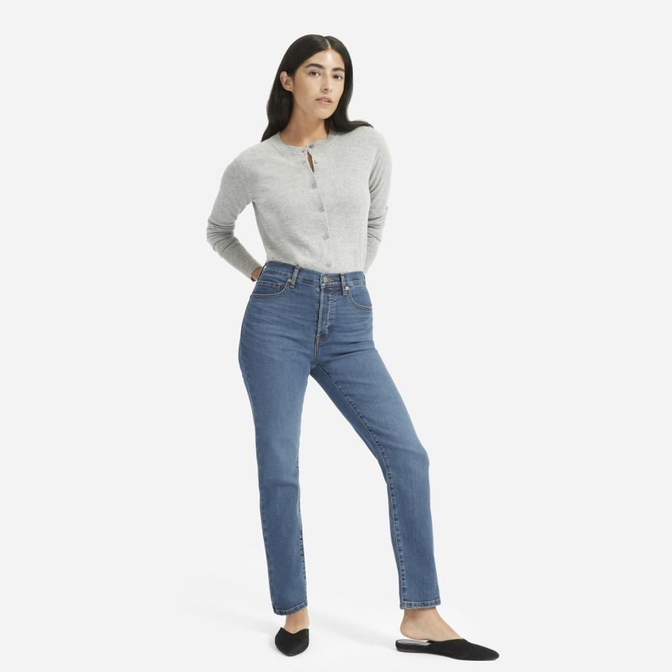 """Everlane claims that its celeb-fave denim line is made in the world's cleanest denim factory, which (among other things) uses 98 percent reycled water that ccomes out clean enough to drink after the process - and the toxic output, """"sludge,"""" is turned into bricks used to make affordable homes.  <strong>Buy It! </strong>Everlane high-rise cigarette jeans, $78; <a href=""""http://www.pjtra.com/t/8-9711-131940-104709?sid=PEO%2CShopping%3AMostEcoFriendlybrands%2Channakateflanagan1%2CUnc%2CGal%2C7017622%2C201904%2CI&url=https%3A%2F%2Fwww.everlane.com%2Fproducts%2Fwomens-auth-strch-hr-slm-strt-midblue%3Fcollection%3Dwomens-jeans"""" target=""""_blank"""" rel=""""nofollow"""">everlane.com</a>"""