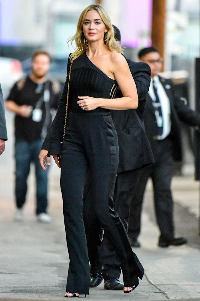 <p><strong>14 November </strong>Emily Blunt out in Los Angeles in a one-shoulder black jumpsuit. </p>