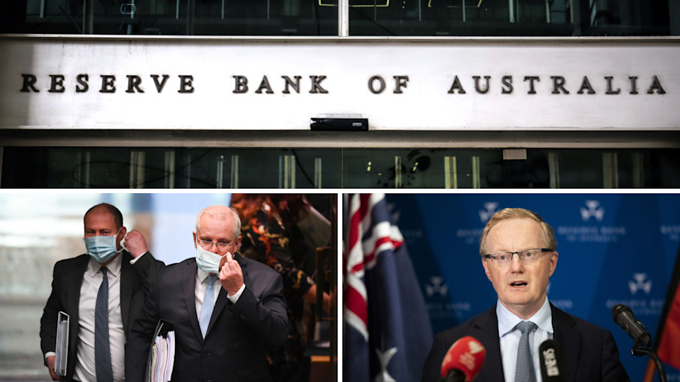 Top: RBA banner; left: Treasurer Josh Frydenberg and PM Scott Morrison; right: RBA governor Philip Lowe.