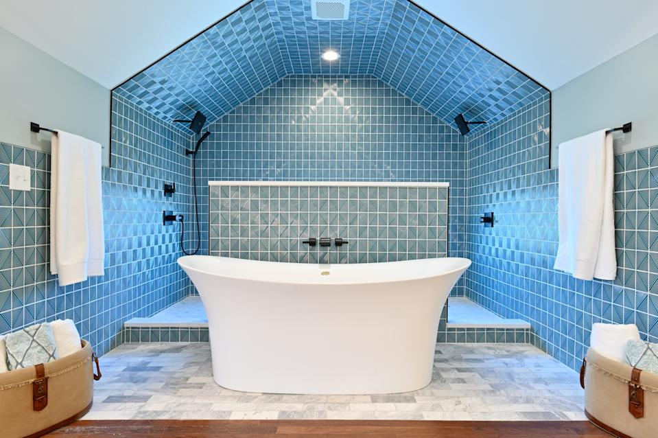 "<div class=""caption""> A bathroom created in the third-floor attic of a 1918 Colonial home by Day and Schraeder during season three of their show. </div> <cite class=""credit"">Courtesy of HGTV</cite>"