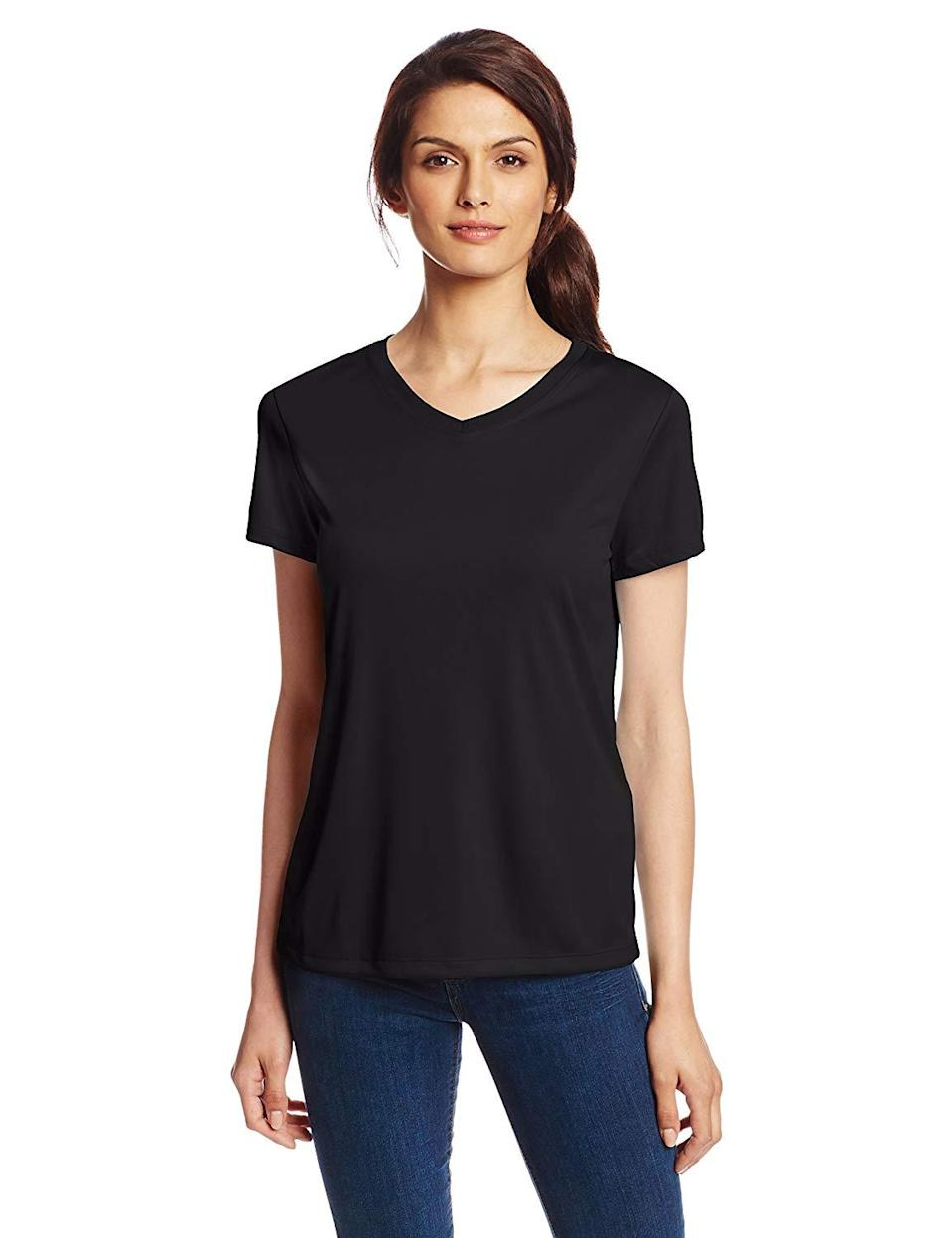"""<strong>The Performance Tee</strong><br><br>Hanes is a poster child for the perfect basic T-shirt, including this popular performance tee you can layer or wear as is in extreme heat without having to worry about excess sweat.<br><br><strong>The Hype:</strong> 4 out of 5 stars on Amazon<br><br><strong>What They're Saying:</strong> """"I LOVE this shirt. This shirt keeps me cooler than any other shirt I own. It seems to dry almost as quickly as I sweat. I put this shirt through extremes, 90 degree weather with 70-80% humidity."""" - Heather A., Amazon Review<br><br><strong>Hanes</strong> Hanes Sport Women's Cool DRI Performance V-Neck Tee, $, available at <a href=""""https://www.amazon.com/Hanes-Womens-Performance-V-Neck-Medium/dp/B00KRYOP8M"""" rel=""""nofollow noopener"""" target=""""_blank"""" data-ylk=""""slk:Amazon"""" class=""""link rapid-noclick-resp"""">Amazon</a>"""