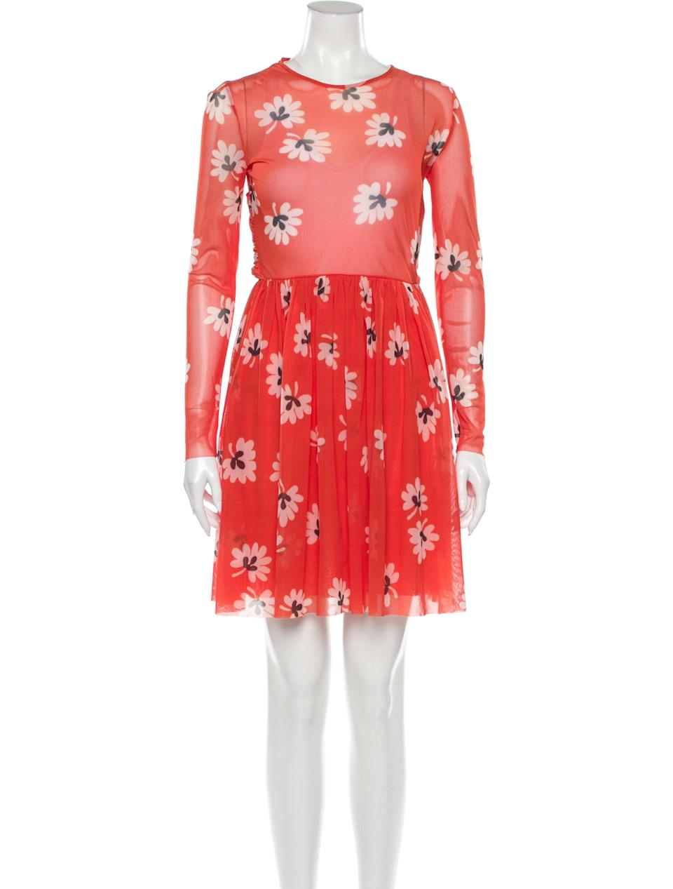 """<h2>TheRealReal Ganni Floral-Print Mesh Dress</h2><br>If there's one thing we know our readers love, it's shopping sustainably — and TheRealReal offers plenty of options that keep our dollars within the """"<a href=""""https://www.ellenmacarthurfoundation.org/circular-economy/concept"""" rel=""""nofollow noopener"""" target=""""_blank"""" data-ylk=""""slk:circular economy"""" class=""""link rapid-noclick-resp"""">circular economy</a>,"""" lessening waste by using existing resources. Even better, this vast consignment retailer houses scores of options from all our favorite brands — like this red mesh <a href=""""https://www.therealreal.com/designers/ganni"""" rel=""""nofollow noopener"""" target=""""_blank"""" data-ylk=""""slk:Ganni"""" class=""""link rapid-noclick-resp"""">Ganni</a> dress that we can see ourselves throwing on every weekend for the next four months.<br><br><strong>Ganni</strong> Floral Print Knee-Length Dress, $, available at <a href=""""https://go.skimresources.com/?id=30283X879131&url=https%3A%2F%2Fwww.therealreal.com%2Fproducts%2Fwomen%2Fclothing%2Fdresses%2Fganni-floral-print-knee-length-dress-w-tags-7oz12%3Fposition%3D106"""" rel=""""nofollow noopener"""" target=""""_blank"""" data-ylk=""""slk:TheRealReal"""" class=""""link rapid-noclick-resp"""">TheRealReal</a>"""