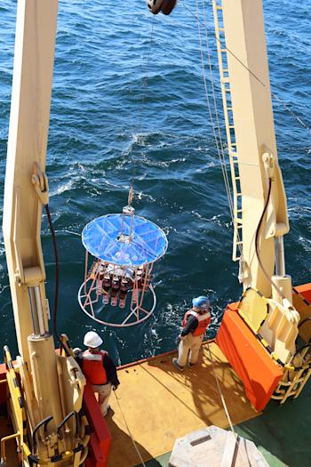 Caption: Launching the multicorer from the deck of the Nathaniel B. Palmer in Antarctica Credit: Linda Welzenbach/Rice University
