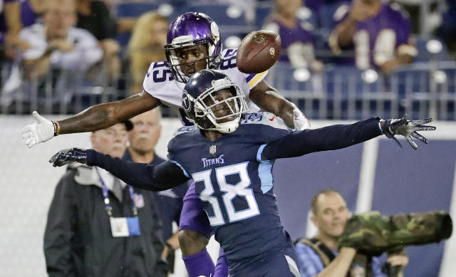Tennessee Titans Kenneth Durden (38) breaks up a pass intended for Minnesota Vikings wide receiver Jeff Badet (85) in the second half of a preseason NFL football game Thursday, Aug. 30, 2018, in Nashville, Tenn. (AP Photo/James Kenney)
