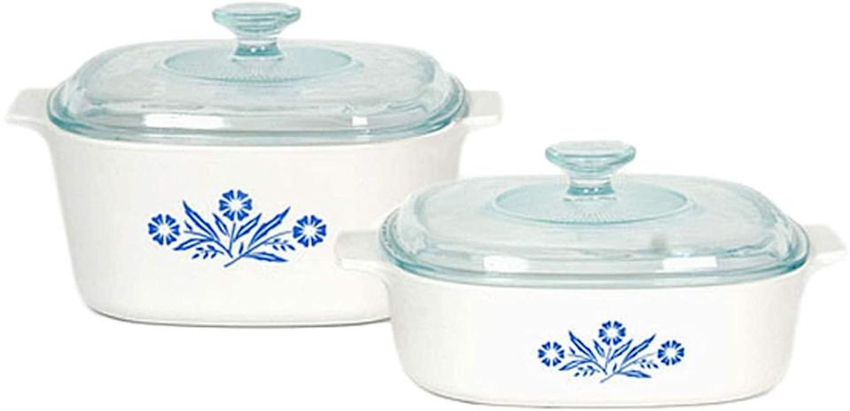 "<p>Yes, you can buy cheaper Corningware. But not this one, the set with the blue cornflower pattern we grew up with. Just try setting it on your table without thinking of Grandma and all the other great cooks in your family.</p> <p><strong>BUY IT: </strong>Corningware Pyroceram Blue Cornflower 4 pc. Glass Ceramic Cookware Set (Limited Edition), $131.79, <a href=""https://www.amazon.com/Corningware-Pyroceram-Cornflower-Ceramic-Cookware/dp/B008XWUKZM?&linkCode=ll1&tag=slthingsfromgrandmothershousevluesse0321-20&linkId=3e2060d5cb0569c9426f08f5a0a7a78b&language=en_US&ref_=as_li_ss_tl"" rel=""sponsored noopener"" target=""_blank"" data-ylk=""slk:Amazon.com"" class=""link rapid-noclick-resp"">Amazon.com</a></p>"