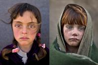 <p>Syrian refugee girl Zahra Mahmoud, 5, from Deir el-Zour, Syria, poses for a picture at an informal tented settlement near the Syrian border on the outskirts of Mafraq, Jordan, March 11, 2016, left and Afghan refugee girl, laiba Hazrat, 6, poses for a picture in a slum on the outskirts of Islamabad, Pakistan, Jan. 24, 2014. (Photos: Muhammed Muheisen/AP) </p>