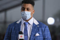 Northwestern tackle Rashawn Slater appears on the Red Carpet at the Rock & Roll Hall of Fame before the NFL football draft, Thursday, April 29, 2021, in Cleveland. (AP Photo/David Dermer, Pool)
