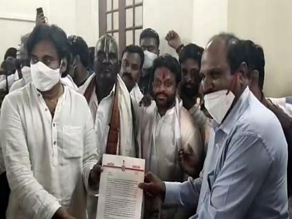 JSP chief Pawan Kalyan submitted petition to Krishna District Revenue Officer (Photo/ANI)