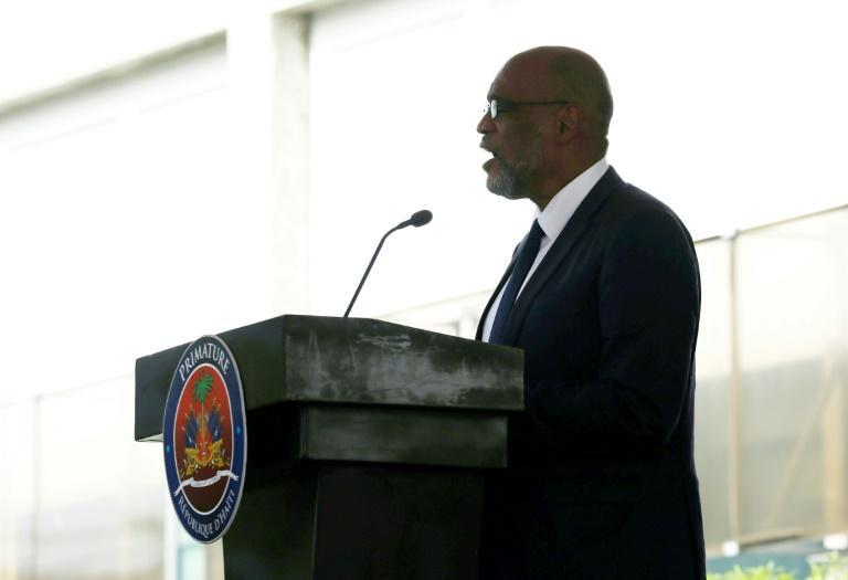 Haiti's new Prime Minister Ariel Henry speaks during his inauguration