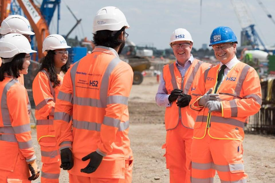 Transport Secretary Grant Shapps (far right) added to growing speculation over the future of the eastern leg of HS2 (Stefan Rousseau/PA) (PA Wire)