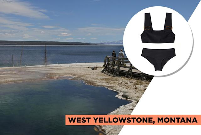 "<p>West Yellowstone is the perfect destination for the outdoorswoman. Located at the west entrance of Yellowstone National Park, it is surrounded by three national forests, mountain lakes, and trout streams. You can hike, bike, fish, go horesback riding, and more. Although you won't exactly be swimming here, H&M's black ribbed-knit bikini can be styled with a crisp white button-up, denim shorts or khaki pants, and an oversized hat for a breezy summer look. (Photo: Getty Images, Art: Quinn Lemmers for Yahoo Lifestyle)<br><br>H&M — Bikini Top, $20, <a href=""http://www2.hm.com/en_us/productpage.0568570002.html"" rel=""nofollow noopener"" target=""_blank"" data-ylk=""slk:hm.com"" class=""link rapid-noclick-resp"">hm.com</a><br> H&M — Cheeky Bikini Bottoms, $15, <a href=""http://www2.hm.com/en_us/productpage.0568571002.html"" rel=""nofollow noopener"" target=""_blank"" data-ylk=""slk:hm.com"" class=""link rapid-noclick-resp"">hm.com</a> </p>"