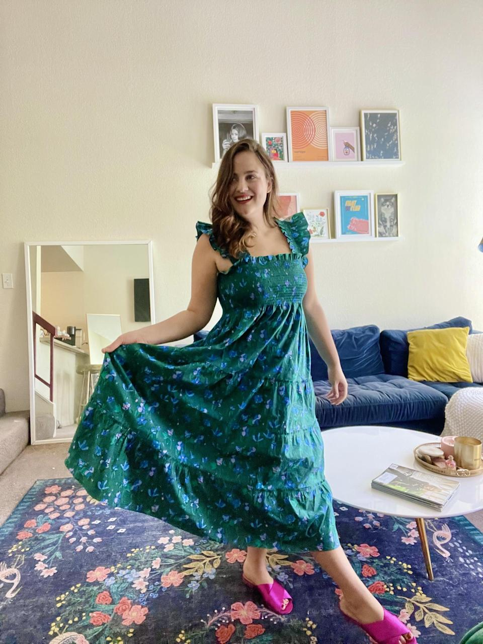 """<p>""""I was excited to slip into the <span>Hill House Home Ellie Nap Dress </span> ($125) - it's one of the brand's most famous and popular silhouettes. I know it's called a nap dress, but I want to do everything in it - go to brunch, lay on the beach, visit a farmers' market; the list goes on. I appreciate that it doesn't easily wrinkle, and even as a D-cup, I don't need to wear a bra with this design; there's plenty of support. I'm already shopping for another one."""" - Macy Cate Williams, senior editor, Commerce</p>"""