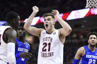 South Carolina forward Maik Kotsar (21) reacts to a an official's call during the first half of the team's NCAA college basketball game against Kentucky on Wednesday, Jan. 15, 2020, in Columbia, S.C. (AP Photo/Sean Rayford)