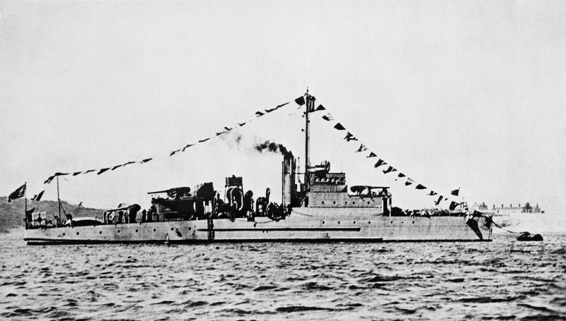 This undated photo provided by the U.S. Navy shows an Eagle class patrol boat built during World War I. It is similar to the USS Eagle PE-56, which exploded and sank off Cape Elizabeth, Maine, on April 23, 1945, killing most of its crew in New England's worst naval disaster during World War II. The Navy determined in 2001 that it had been sunk by a German submarine. On Monday, July 15, 2019, Garry Kozak, a specialist in undersea searches, announced that Ryan King, a New Hampshire diver, used sonar data to locate the vessel's bow and stern about three miles off Cape Elizabeth in June 2018. (AP Photo/U.S. Navy, File)