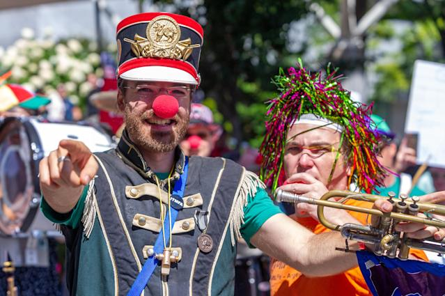 <p>Member of at the Unpresidented Brass Band takes part in a counterprotest to the Patriot Prayer Rally in downtown Portland, Ore.,, on Aug. 4, 2018. (Photo: Diego Diaz/Icon SMI via ZUMA Press) </p>