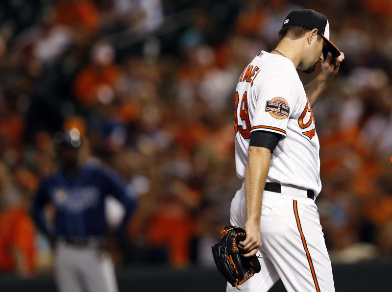 Baltimore Orioles starting pitcher Jason Hammel walks off the field after injuring his right knee in the fourth inning of a baseball game against the Tampa Bay Rays in Baltimore, Tuesday, Sept. 11, 2012. (AP Photo/Patrick Semansky)