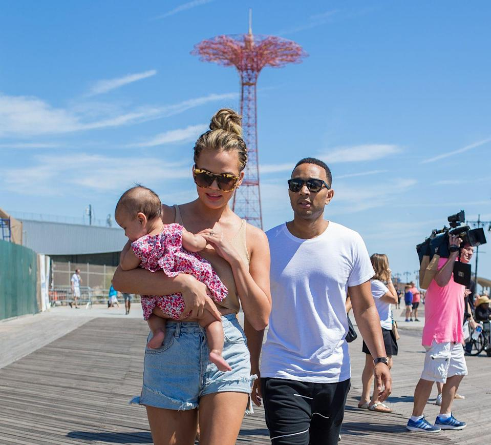 <p>The couple take baby Luna to New York's Coney Island.</p>