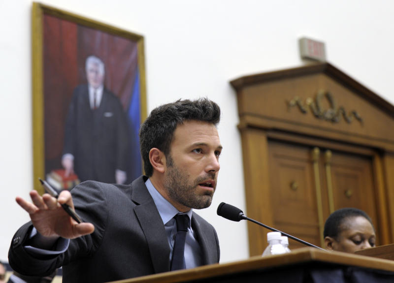 Ben Affleck, actor and founder of the Eastern Congo Initiative, testifies before the House Armed Services Committee on the evolving security situation in the Democratic Republic of the Congo during a hearing on Capitol Hill in Washington, Wednesday, Dec. 19, 2012. (AP Photo/Susan Walsh)