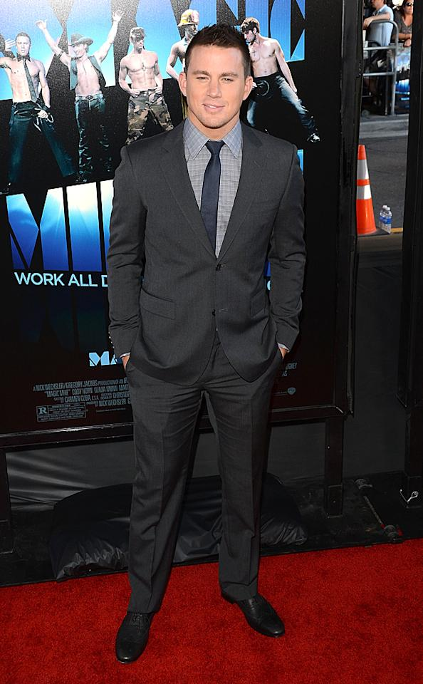 """The star of <a target=""""_blank"""" href=""""http://movies.yahoo.com/movie/magic-mike/"""">""""Magic Mike,""""</a> Channing Tatum, cleaned up nicely for the L.A. debut of his new stripper flick. While we can't wait to see him in a whole lot less when the movie opens nationwide this coming weekend, we must admit that he fills out this charcoal gray suit quite well. Jenna Dewan is one lucky lady! (6/24/2012)"""