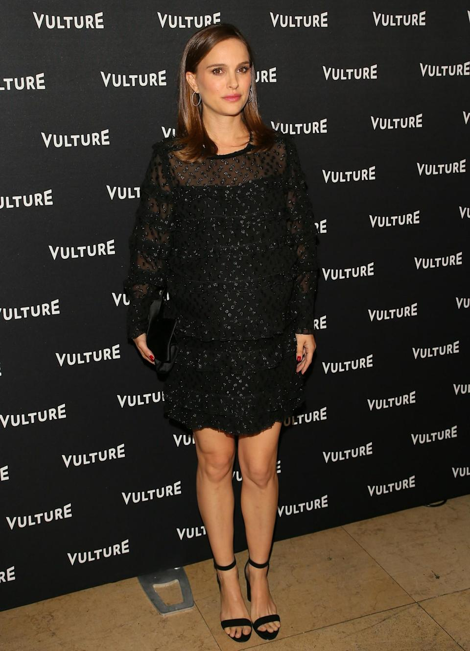 <p>You can absolutely wear a minidress when you're pregnant – Natalie Portman is your proof. The actress wore this tiered Isabel Marant number with strappy heels and a black bag at the Vulture awards. [Photo: Getty] </p>