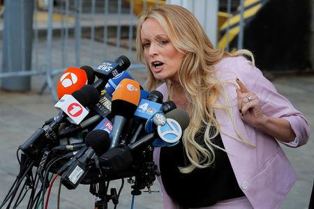Adult-film actress Stephanie Clifford, also known as Stormy Daniels, speaks as she departs federal court in the Manhattan borough of New York City, New York, U.S., April 16, 2018. REUTERSLucas Jackson