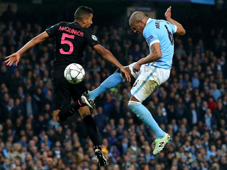PSG's Marqinhos and Manchester City's Fernandinho clash in a 2016 meeting between the clubs (Getty Images)