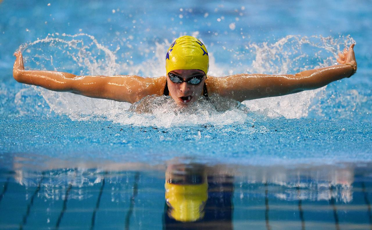 <p>Ciara Schlosshan of Co Leeds competes in the Womens Junior 200m Butterfly final on day three of the British Swimming Championships at Ponds Forge on April 20, 2017 in Sheffield, England. (Photo: Dan Mullan/Getty Images) </p>