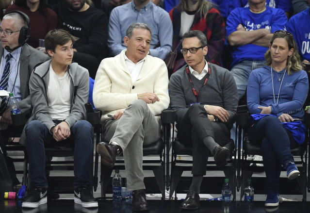 Bob Iger, Chairman and Chief Executive Officer of The Walt Disney Company, attends the basketball game between Los Angeles Clippers and Golden State Warriors during Game Six of Round One of the 2019 NBA Playoffs at Staples Center on April 26, 2019 in Los Angeles, California. (Photo by Kevork S. Djansezian/Getty Images)