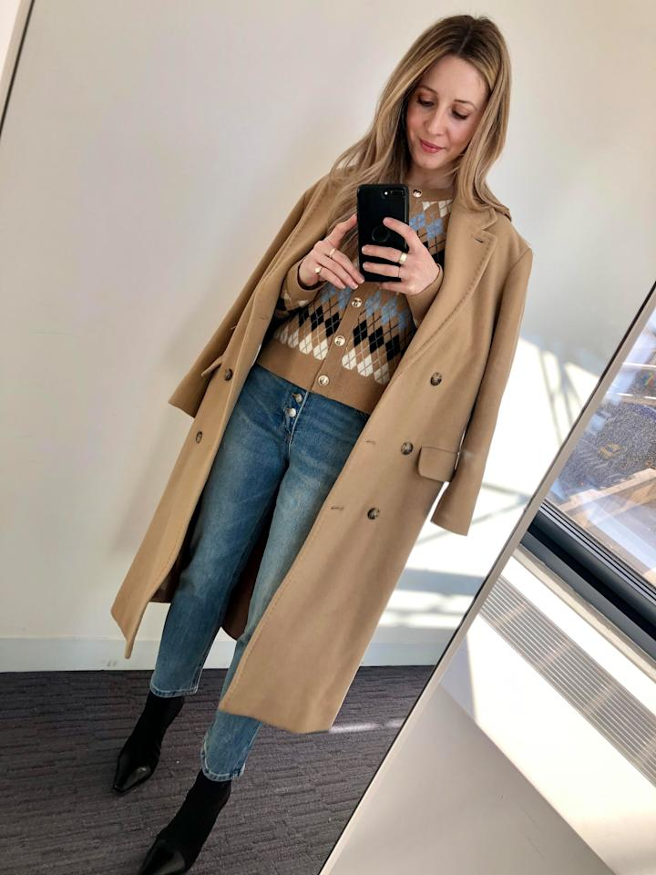 "<p>I'm really into the whole cardigan-worn-as-a-top movement right now and love how this argyle style hits at the top of these jeans. With a camel coat and black ankle boots (mine are #OldCeline and I bought them secondhand on <a href=""https://us.vestiairecollective.com/?gclid=EAIaIQobChMI08yaiNr05gIVmZOzCh3BVw2BEAAYASAAEgLUevD_BwE&amp;gclsrc=aw.ds"" target=""_blank"" class=""ga-track"" data-ga-category=""Related"" data-ga-label=""https://us.vestiairecollective.com/?gclid=EAIaIQobChMI08yaiNr05gIVmZOzCh3BVw2BEAAYASAAEgLUevD_BwE&amp;gclsrc=aw.ds"" data-ga-action=""In-Line Links"">Vestiaire Collective</a>!), this is a comfortable and cozy look that's somewhat nostalgic in vibe but still polished and classic for a day at the office. </p>"