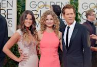 From left, Sosie Bacon, Kyra Sedgwick and Kevin Bacon arrive at the 71st annual Golden Globe Awards at the Beverly Hilton Hotel on Sunday, Jan. 12, 2014, in Beverly Hills, Calif. (Photo by John Shearer/Invision/AP)