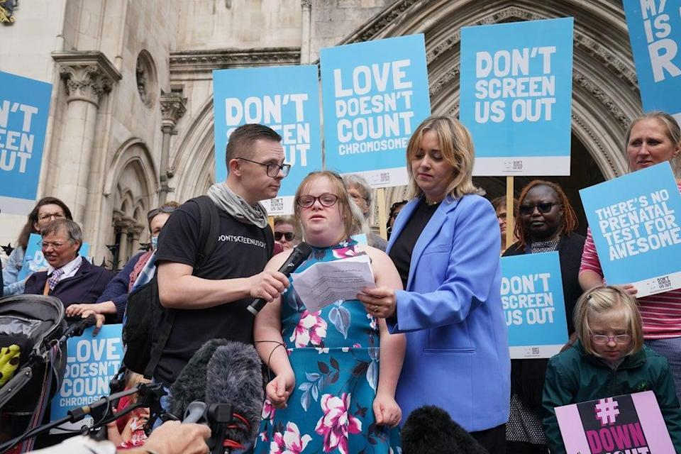 Heidi Crowter speaking to the media outside the High Court  (PA)