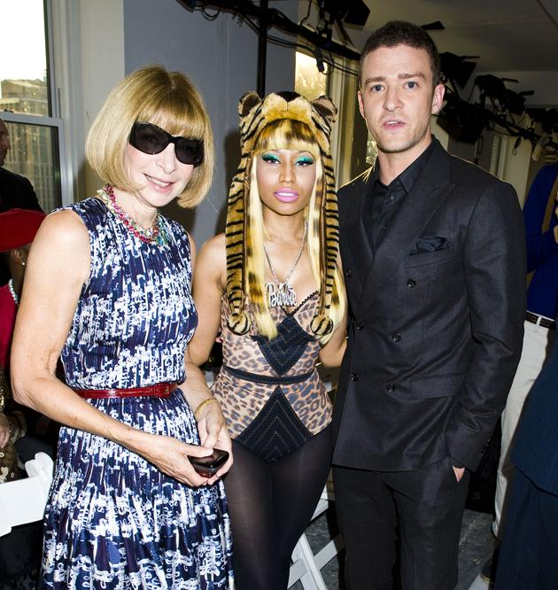 Vogue editor Anna Wintour, singer Nicki Minaj and Justin Timberlake hung out at New York Fashion Week. Most random combo ever?!