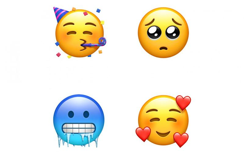The new emoji faces include a party face and a cold face (Apple)