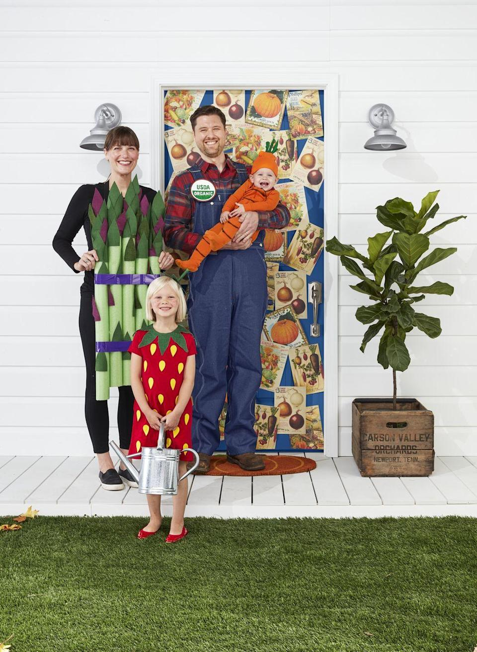 """<p>How fun and different is this idea? Dress your partner up like a farmer, don your finest veggie-inspired attire, and throw your children into DIY produce outfits. Your daughter is likely sweet enough without a strawberry outfit on, but a little extra cuteness never hurt anyone! </p><p><strong>Make the Asparagus Costume: </strong>Gather five lime green pool noodles. Cut leaves from purple and green felt (see <a href=""""https://www.countryliving.com/diy-crafts/how-to/a3048/halloween-templates-1009/"""" rel=""""nofollow noopener"""" target=""""_blank"""" data-ylk=""""slk:template"""" class=""""link rapid-noclick-resp"""">template</a>); you will need 10 to 12 for each stalk. Adhere to noodles, concentrating them at the top, with spray adhesive. Bundle pool noodles with purple duct tape. Tape a pair of suspenders to the back of the noodles and drape over shoulders. </p><p><strong>Make the Farmer Costume: </strong>Draw USDA Organic logo (see <a href=""""https://www.countryliving.com/diy-crafts/how-to/a3048/halloween-templates-1009/"""" rel=""""nofollow noopener"""" target=""""_blank"""" data-ylk=""""slk:template"""" class=""""link rapid-noclick-resp"""">template</a>) onto a 6-inch diameter piece of card stock. Color in with green and brown felt pens. Glue a safety pin to the back and attach to overalls. </p><p><strong>Make the Carrot Baby Costume: </strong>Cut thin strips of brown felt and adhere to an orange onesie—making sure to leave room for the zipper to function—with Stitch Witchery. Cut four 5- by 6-inch strips of green felt and roll, lengthwise, into tubes; adhere ends with hot-glue. Stitch on the top center of an orange beanie. </p><p><strong>Make the Strawberry Costume</strong>: Cut seeds (see <a href=""""https://www.countryliving.com/diy-crafts/how-to/a3048/halloween-templates-1009/"""" rel=""""nofollow noopener"""" target=""""_blank"""" data-ylk=""""slk:template"""" class=""""link rapid-noclick-resp"""">template</a>) from yellow felt. Adhere to a plain red dress with Stitch Witchery. Trace leaves (see <a href=""""https://www.countryliving.com/diy-"""