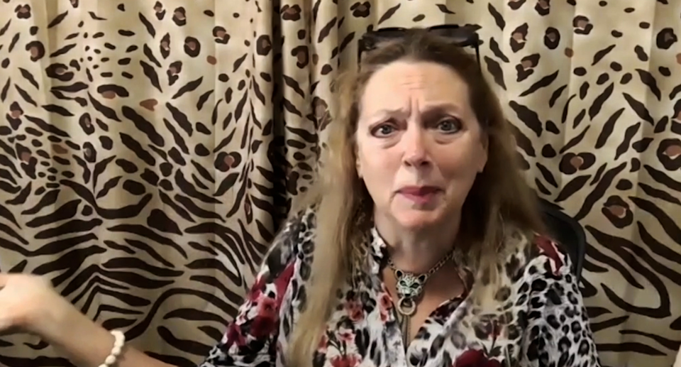 A screenshot of Carole Baskin during her Zoom interview with Yahoo Lifestyle Australia